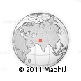"""Outline Map of the Area around 32° 8' 5"""" N, 71° 28' 29"""" E, rectangular outline"""