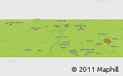 """Physical Panoramic Map of the area around 32°8'5""""N,72°19'29""""E"""