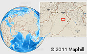 """Shaded Relief Location Map of the area around 32°8'5""""N,73°10'30""""E"""