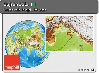 Physical Location Map of Gujrānwāla