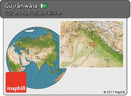 Satellite Location Map of Gujrānwāla