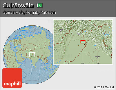 Savanna Style Location Map of Gujrānwāla, hill shading