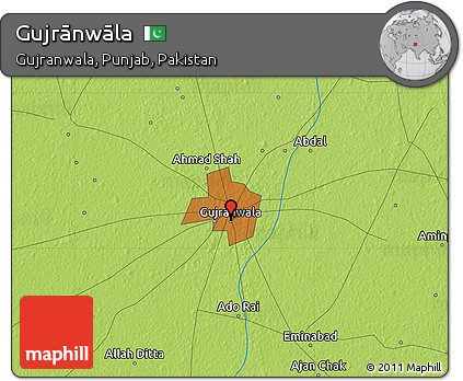 Physical Map of Gujrānwāla