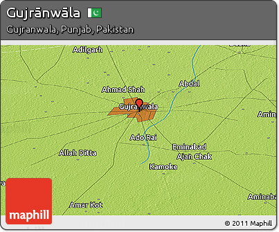 Physical Panoramic Map of Gujrānwāla