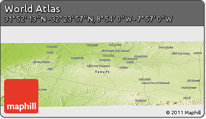 """Physical Panoramic Map of the Area around 32°8'5""""N,8°25'30""""W"""