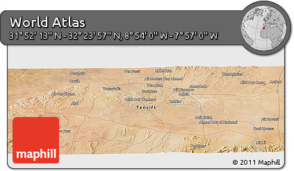 "Satellite Panoramic Map of the Area around 32°8'5""N,8°25'30""W"
