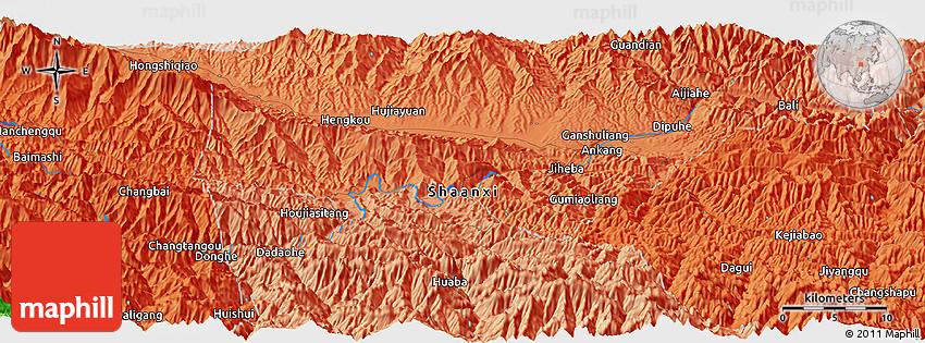 Political Panoramic Map Of Ankang - Ankang map