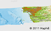 """Physical Panoramic Map of the area around 32°36'26""""N,117°13'29""""W"""