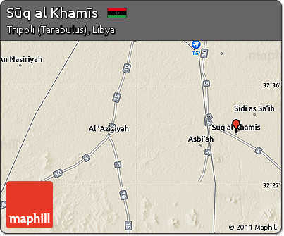 Free Shaded Relief Map of Sq Al Khams