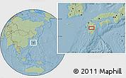 Savanna Style Location Map of Shiranita, hill shading