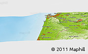 "Physical Panoramic Map of the area around 32° 36' 26"" N, 34° 55' 29"" E"
