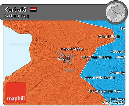 Political 3D Map of Karbalā'