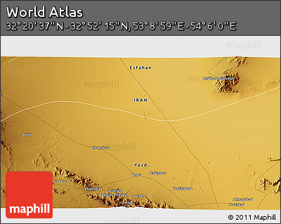 """Physical 3D Map of the Area around 32°36'26""""N,53°37'30""""E"""