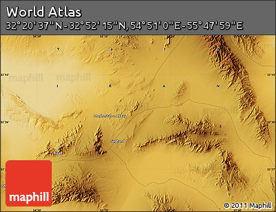 """Physical Map of the Area around 32°36'26""""N,55°19'30""""E"""