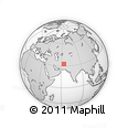 """Outline Map of the Area around 32° 36' 26"""" N, 63° 49' 30"""" E, rectangular outline"""