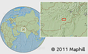 Savanna Style Location Map of Aḏam Kheyl, hill shading