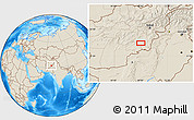 """Shaded Relief Location Map of the area around 32°36'26""""N,68°4'29""""E"""