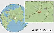 "Savanna Style Location Map of the area around 32°36'26""N,70°37'30""E"