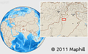 """Shaded Relief Location Map of the area around 32°36'26""""N,70°37'30""""E"""
