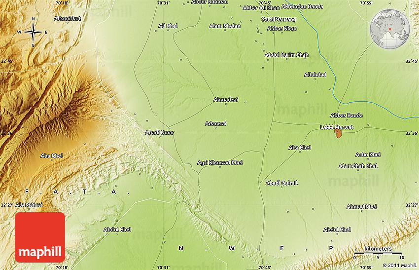 Physical Map of Mali Khel