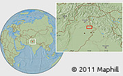 """Savanna Style Location Map of the area around 32°36'26""""N,74°1'30""""E, hill shading"""