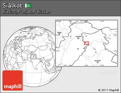 Blank Location Map of Siālkot