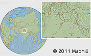 """Savanna Style Location Map of the area around 32°36'26""""N,75°43'29""""E, hill shading"""