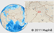 """Shaded Relief Location Map of the area around 32°36'26""""N,75°43'29""""E"""