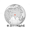"""Outline Map of the Area around 32° 36' 26"""" N, 75° 43' 29"""" E, rectangular outline"""