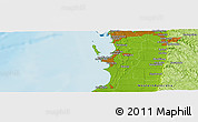 """Physical Panoramic Map of the area around 32°17'31""""S,115°40'30""""E"""