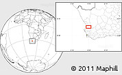 """Blank Location Map of the area around 32°17'31""""S,18°46'29""""E"""