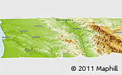 """Physical Panoramic Map of the area around 32°17'31""""S,18°46'29""""E"""