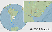 """Savanna Style Location Map of the area around 32°17'31""""S,55°10'29""""W, hill shading"""