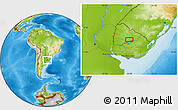 """Physical Location Map of the area around 32°17'31""""S,56°1'29""""W"""