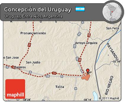 Free Shaded Relief Map Of Concepción Del Uruguay - Uruguay relief map