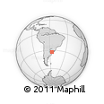 Outline Map of Uruguay, rectangular outline