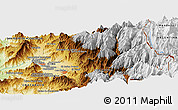 """Physical Panoramic Map of the area around 32°45'51""""S,70°28'29""""W"""