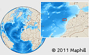 """Shaded Relief Location Map of the area around 33°4'42""""N,10°7'30""""W"""