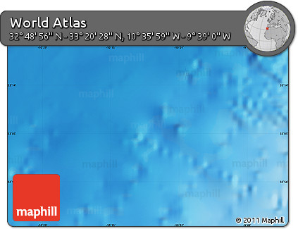 """Shaded Relief Map of the Area around 33°4'42""""N,10°7'30""""W"""