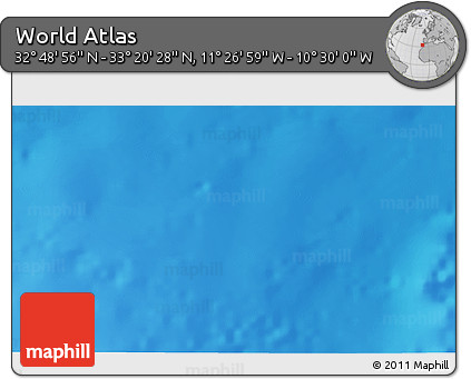 """Shaded Relief 3D Map of the Area around 33°4'42""""N,10°58'29""""W"""