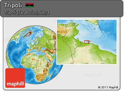 Free Physical Location Map of Tripoli