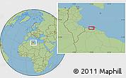 "Savanna Style Location Map of the area around 33°4'42""N,12°49'29""E"