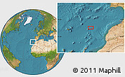 """Satellite Location Map of the area around 33°4'42""""N,12°40'30""""W"""