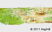 "Physical Panoramic Map of the area around 33° 4' 42"" N, 130° 58' 29"" E"
