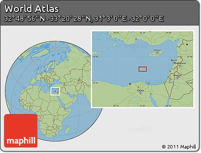 "Savanna Style Location Map of the Area around 33°4'42""N,31°31'29""E"