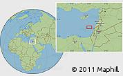 "Savanna Style Location Map of the area around 33°4'42""N,34°4'30""E"
