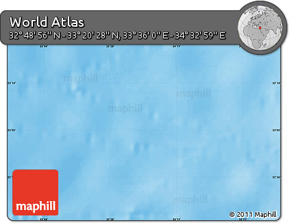 """Shaded Relief Map of the Area around 33°4'42""""N,34°4'30""""E"""