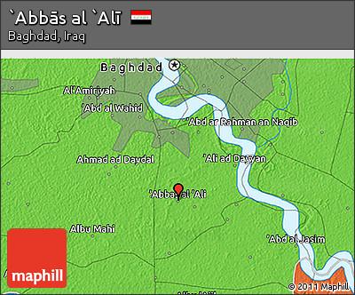 Political 3D Map of `Abbās Al `Alī