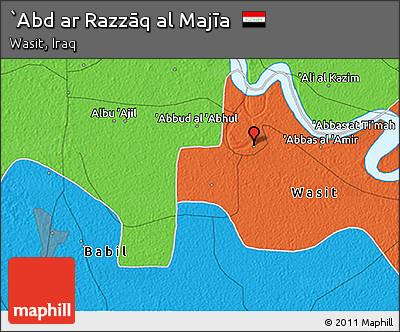 Political 3D Map of `Abd Ar Razzāq Al Majīa