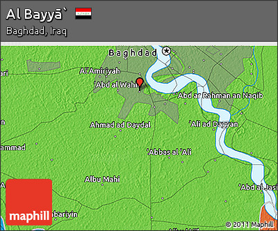 Political 3D Map of Al Bayyā`